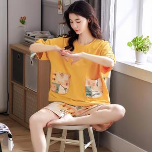 睡衣女士夏季薄款短袖纯棉卡通可爱家居服学生春秋冬时尚两件套装