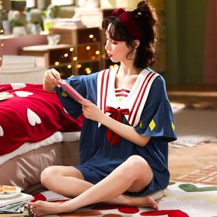 夏季睡衣女士纯棉短袖薄款可爱韩版公主风甜美两件套装春秋家居服