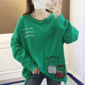 7336实拍#学生上衣韩版长袖T恤女装潮圆领中长款印花减龄复古女