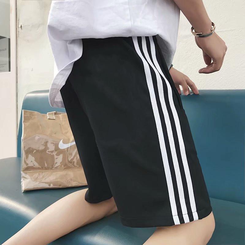 ins运动短裤男女同款原宿bf风三条杠五分裤宽松休闲沙滩阔腿中裤热销27件限时2件3折