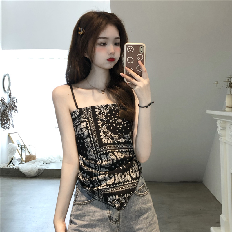 Real shot super fire personality retro cashew pattern slim back lace up vest sling