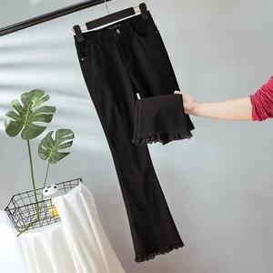 2020秋装新款大码女装高腰休闲喇叭裤胖妹妹显瘦修身九分裤200斤