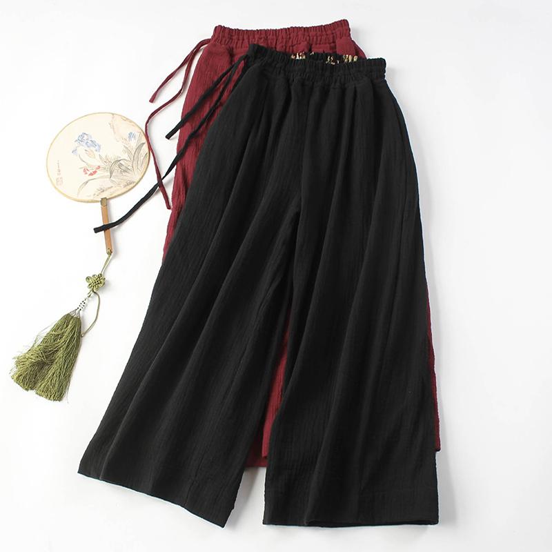 佛笑缘阔腿裤女装唐装瑜伽服裤改良中式女禅服裤棉麻禅意茶服女裤
