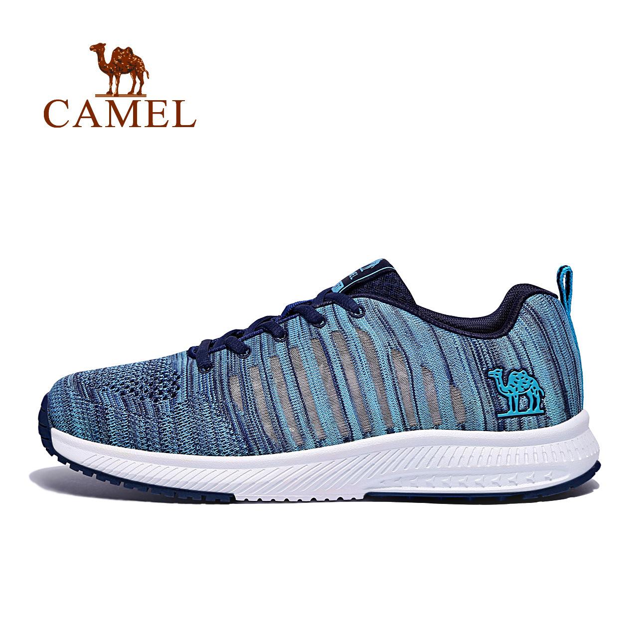 Camel/骆驼正品牌男女飞织网鞋轻便跑步鞋情侣越野减震透气运动鞋