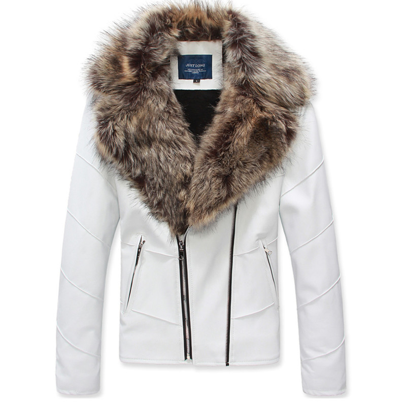 Winter mens thickened Plush white fur coat Korean version large fur collar oblique zipper Pu locomotive wash leather jacket