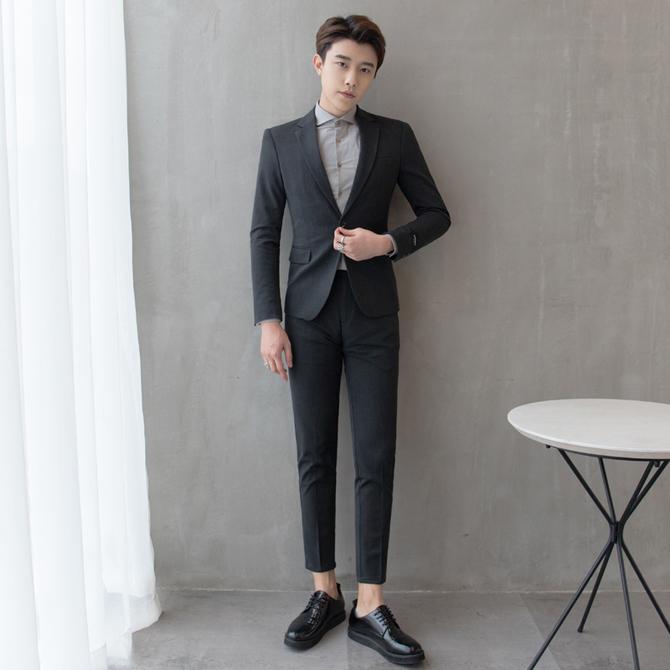 西服休闲帅气新 修身 男套装 男士 青少年商务正装 韩版 郎结婚礼服 西装