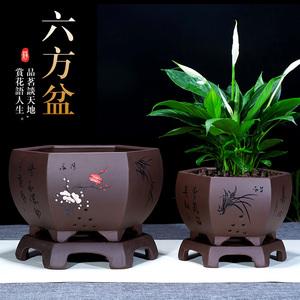 精品紫砂花盆君子兰盆盆景盆 古典创意 阳台盆栽大口径六方花盆