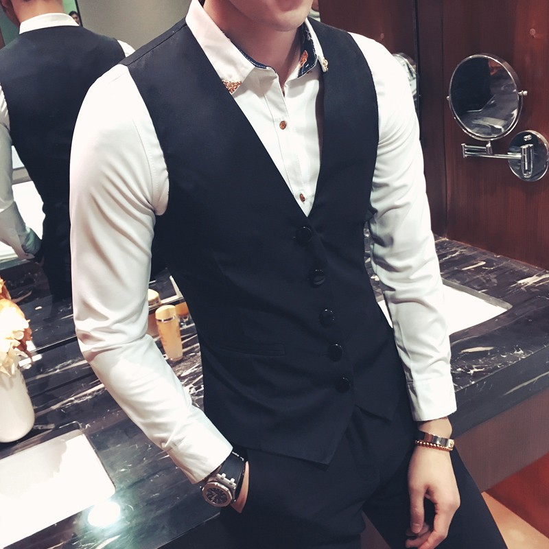 Net red fashion mens suit waistcoat spring and autumn thin oversized waistcoat mens slim personal Korean version trend