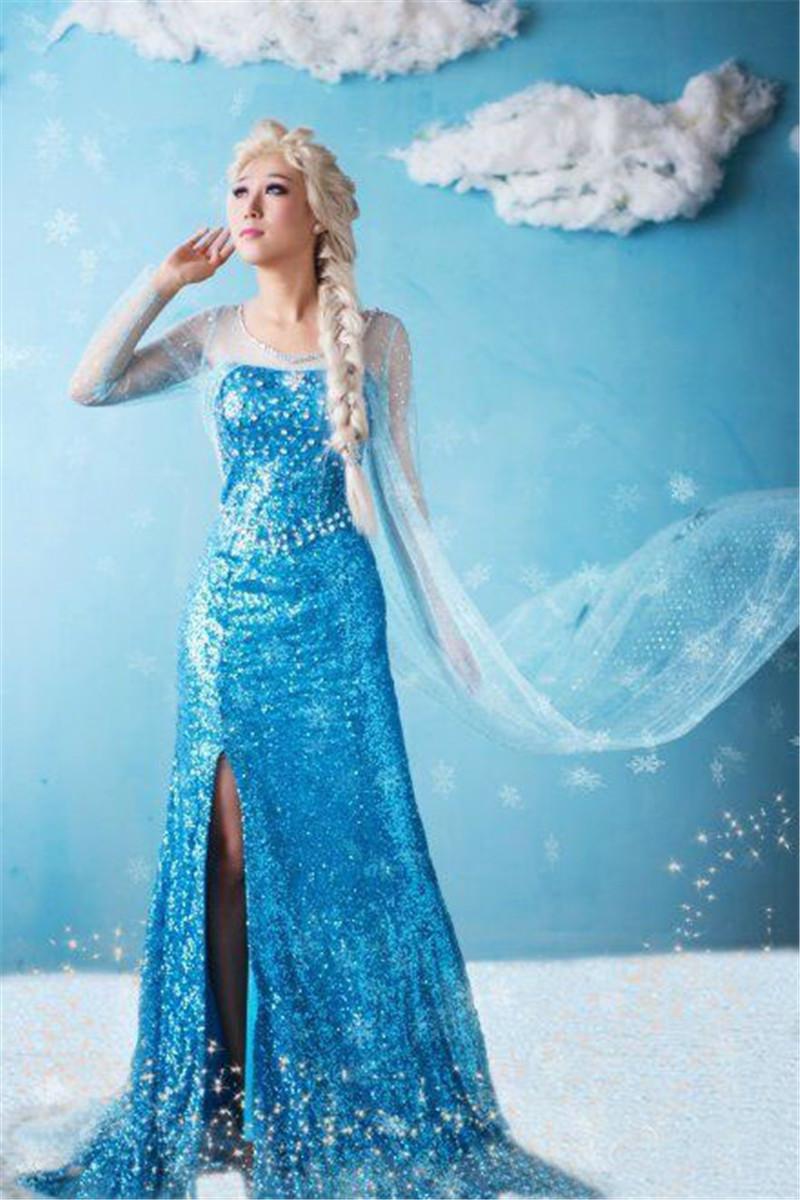 女装冰雪奇缘爱莎成人连衣裙爱莎女王公主礼服裙艾莎演出服装长裙