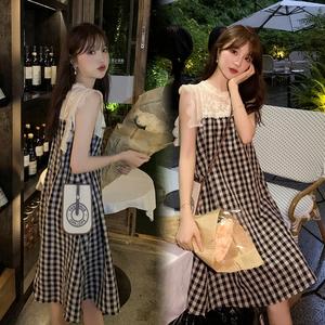 YF46029# 高级蕾丝 全亚麻面料 很能遮肉拼接连衣裙格子套装