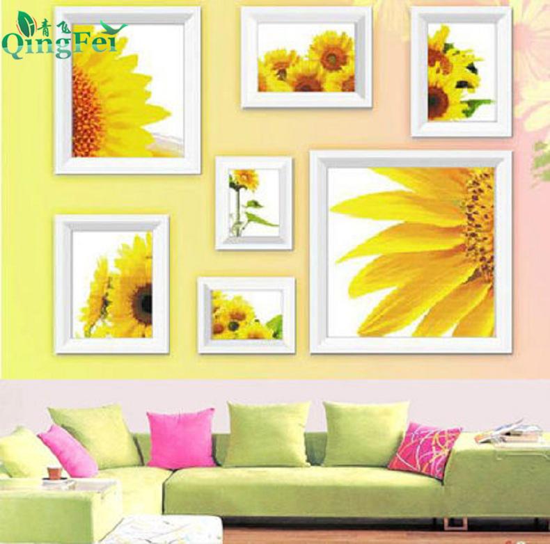 青飞向日葵的微笑七联画客厅花卉刺绣花草清新优雅照片墙挂画