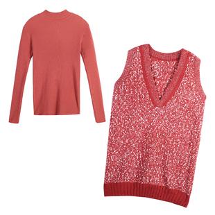 兩件套女2020秋冬韓版針織打底衫顯瘦上衣馬甲背心裙洋氣時尚套裝