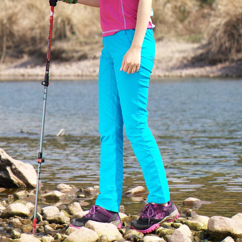 宽松快干女款户外速干裤修身长裤运动登山裤不可拆卸直筒快干裤