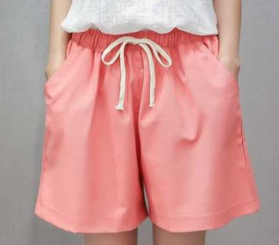 Cotton linen beach casual shorts womens large wide leg home hot pants flax summer loose casual sports pants