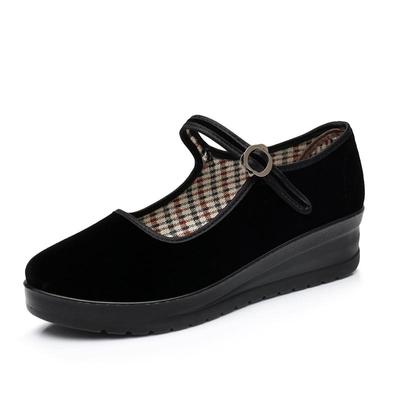 老北京布鞋中跟厚底女單鞋坡跟黑布鞋酒店工作鞋防滑舞蹈鞋禮儀鞋