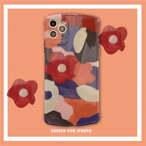 水彩涂鸦花卉XS Max/8P苹果11手机壳11Pro日系软壳iPhoneX保护摄像头全包镜头XR/iPhone7/8硅胶7plus可爱女