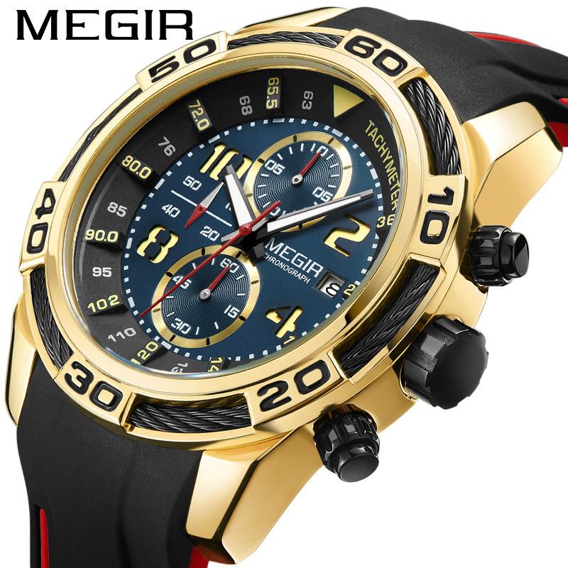 Megger megir watch mens multi function timing calendar sport timing mens watch silicone quartz watch 2045
