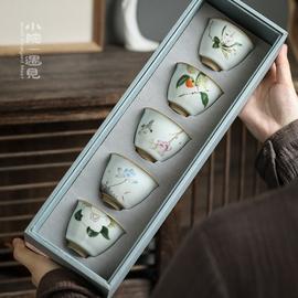 小院陶瓷汝窑品茗杯手绘功夫茶具单杯茶盏开片可养主人杯茶杯套装