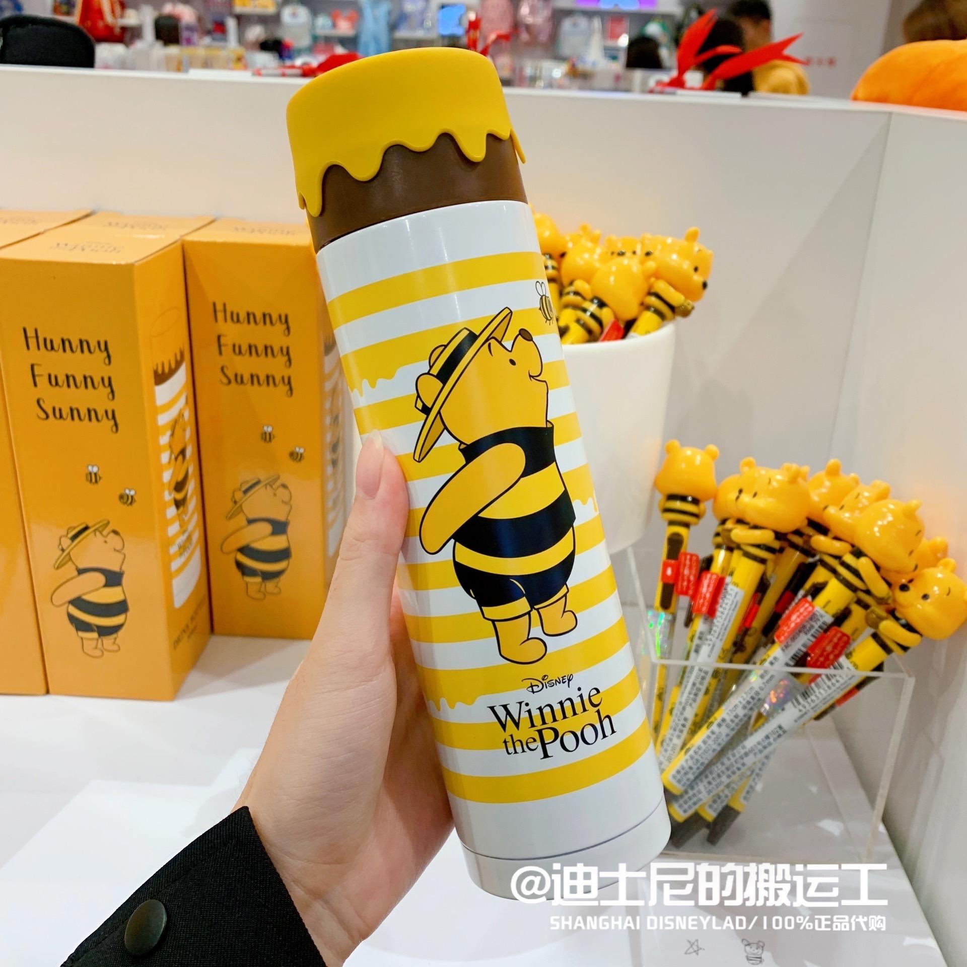 上海迪士尼国内代购小熊维尼蜜蜂卡通保温杯水杯圆珠笔创意礼物