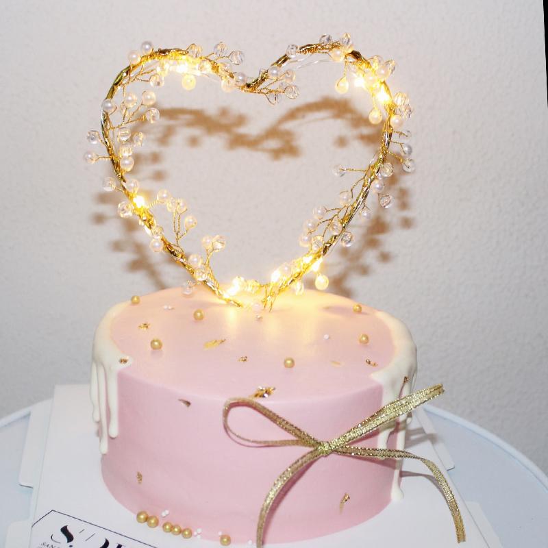 派对蛋糕装饰水晶珍珠蕾丝爱心星星仙女棒七夕母亲节婚礼甜品520