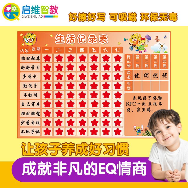 儿童奖励记录表 成长自律表白板 鼓励表扬宝宝表现生活学习计划表
