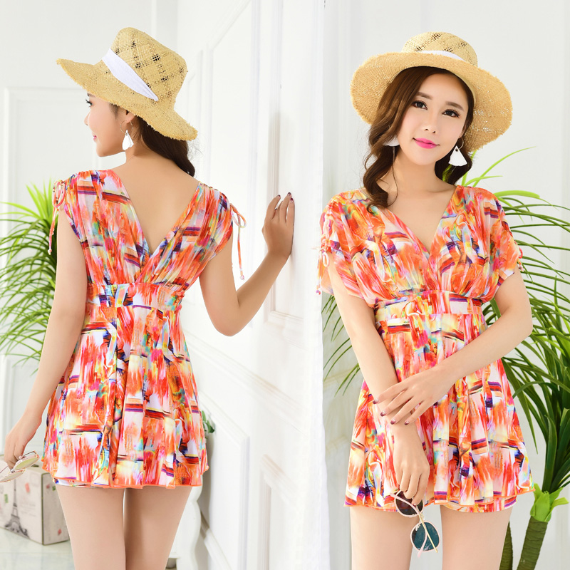 Split body swimsuit female conservative student two piece suit with belly covering showing thin and fat mm large swimsuit 2019 new sexy Korea