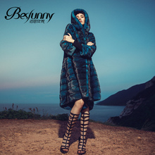 Besfunny imported mink thick super velvet leather suede long sleeve long coat hooded fur coat