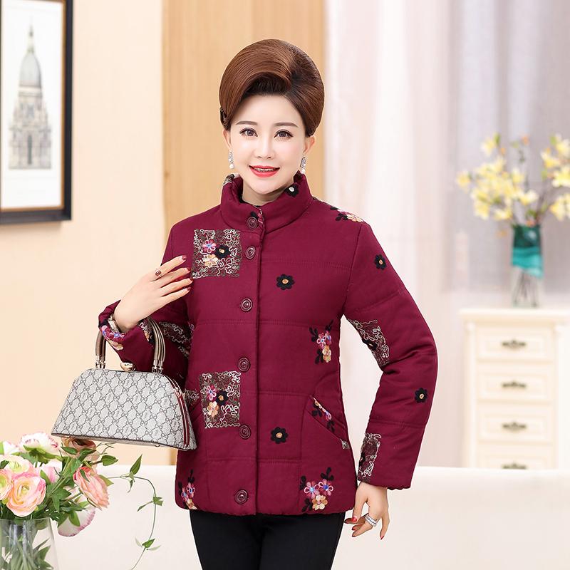 中老年女装冬季棉衣妈妈装外套老人加厚唐装绣花奶奶50岁60棉袄服