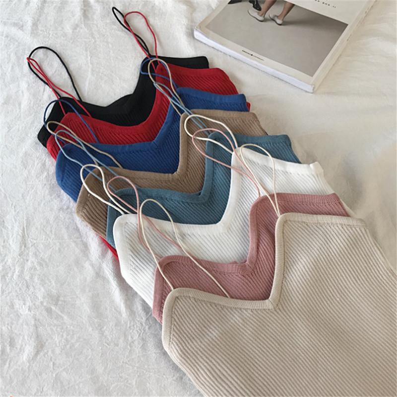 v领小背心女学生修身上衣打底衫新款韩版纯色显瘦修身针织吊带衫
