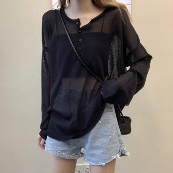 2020新款夏季网红韩版宽松防晒衫薄款黑色长袖t恤女ins潮上衣服