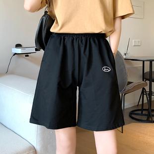 2020新款韩版宽松运动休闲短裤女夏季高腰直筒黑色五分裤显瘦裤子