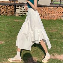 2020新款网红长裙高腰不规则半身裙女夏季中长款白色裙子ins潮