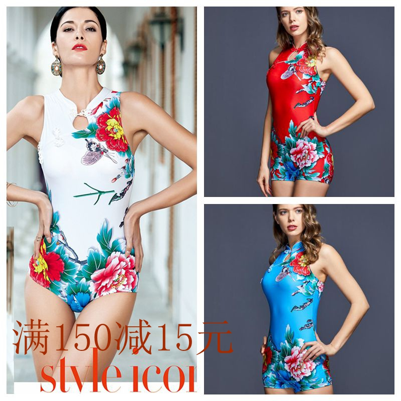 Brand trumpeter Swimsuit NEW womens fashion Chinese style cheongsam style high waist conservative one piece flat horn swimming suit