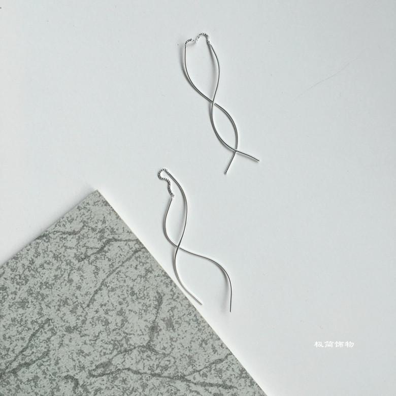Jewelry 極簡925純銀耳線 設計感波浪曲線耳墜長款耳飾 女防過敏