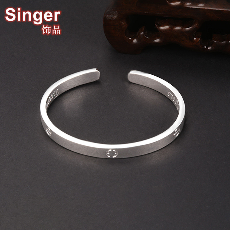 S999 silver bracelet vibrato the same tiktok jewelry, opening bracelet, lovers gift, eternal ring, simplicity.