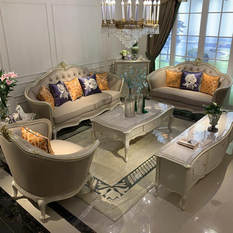 满5000元可用100元优惠券欧式真皮沙发123组合客厅奢华头层牛皮全实木高级灰轻奢沙发家具