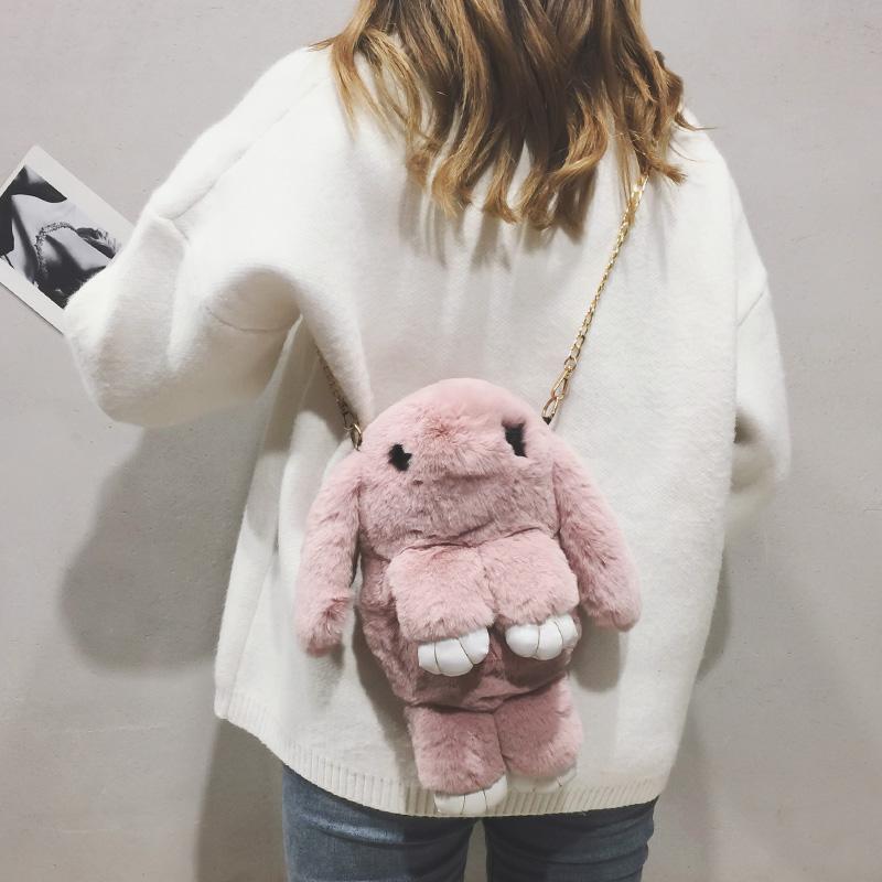 毛绒小包包女2018秋冬新款纯色毛毛包小清新可爱装死兔单肩斜挎包