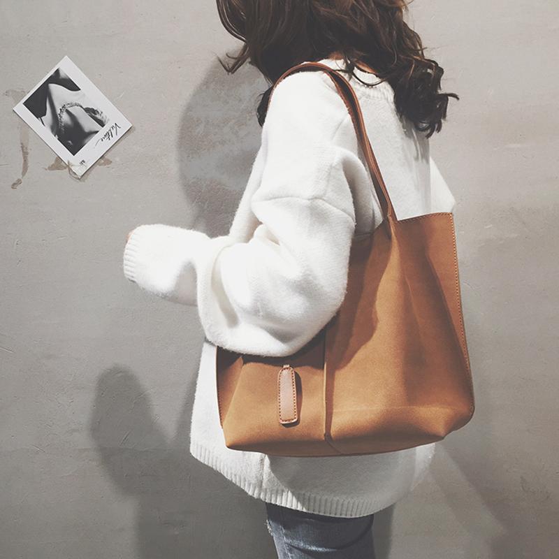 磨砂大包包女2018新款潮纯色个性百搭托特包韩版大容量单肩手提包