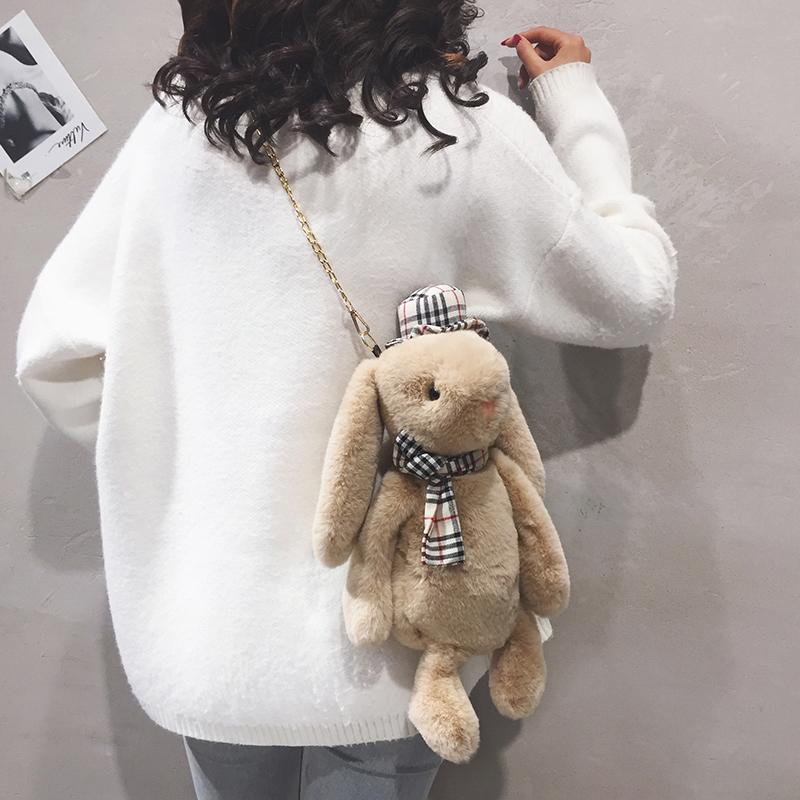 可爱兔子毛绒包包女2020秋冬新款软妹卡通玩偶背包毛毛单肩斜挎包
