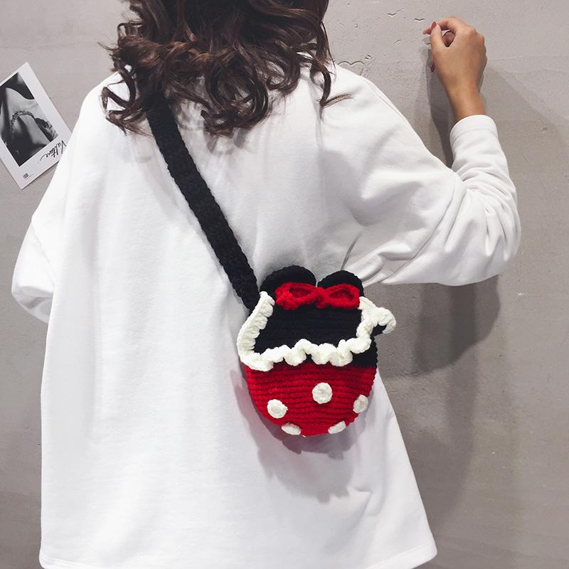 可爱卡通针织包包女2020新款diy自制手工编织单肩包ins少女斜挎包