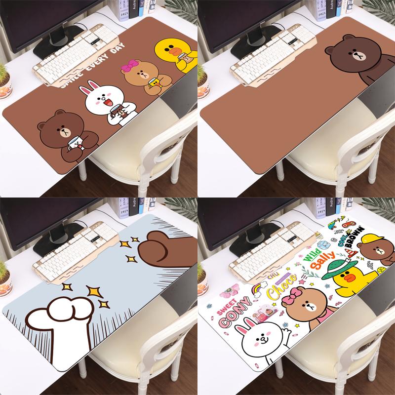 布朗熊鼠标垫超大办公电脑键盘垫卡通锁边学生写字书桌垫家用防水
