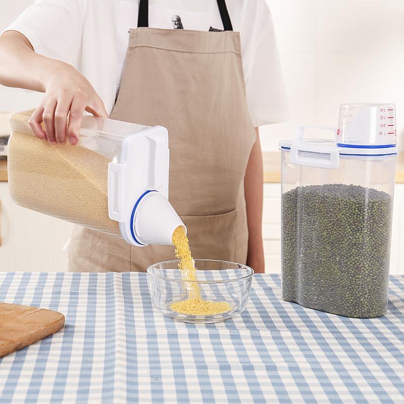 日式米桶家用装五谷杂粮食大米收纳盒面粉防虫防潮密封储物罐套装