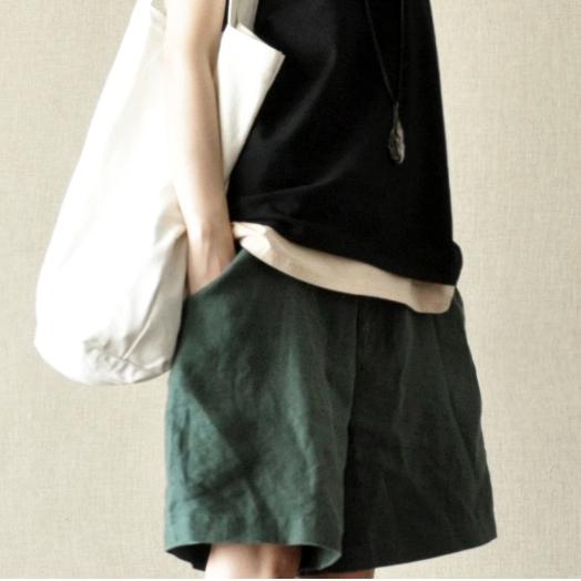 (用25元券)亚麻料百搭文艺女式阔腿夏棉麻短裤