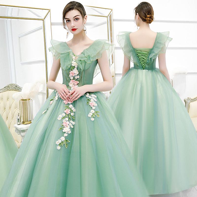 彩纱婚纱新款主持人演出学生声乐独唱艺考服装蓬蓬裙长款晚礼服女