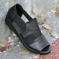 查看撤柜断码处理真皮凉鞋坡跟平底中老年妈妈鞋夏季镂空鱼嘴罗马鞋女价格