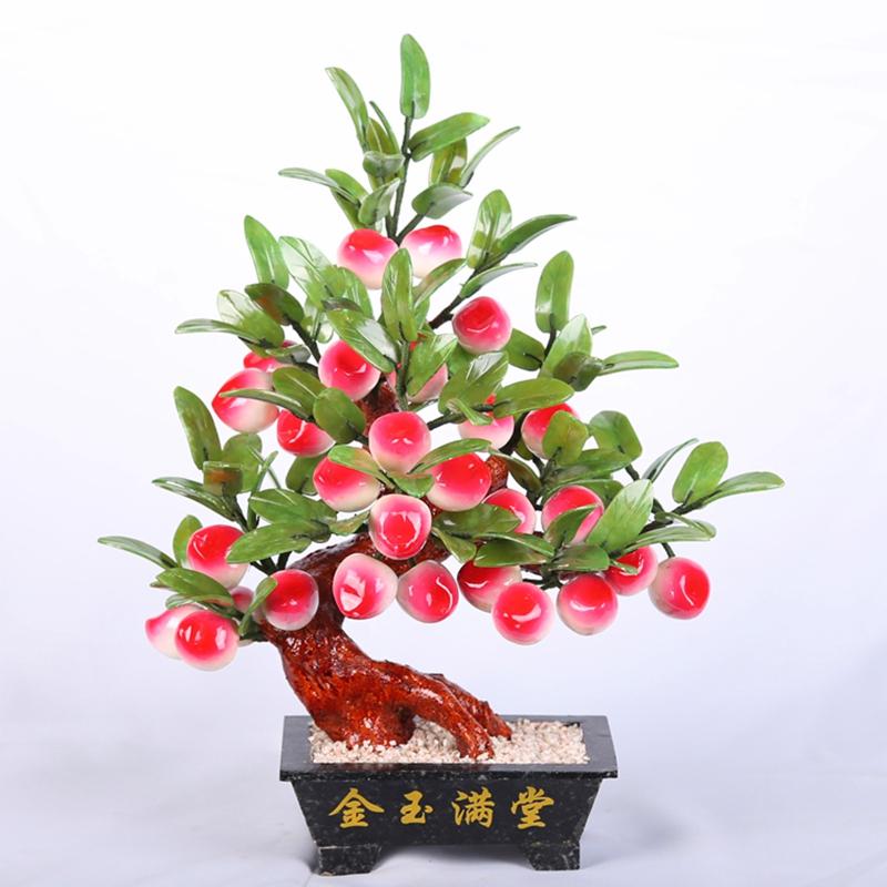 天然玉器盆景寿桃28桃子树玉石客厅摆件家居现代饰品中式工艺品