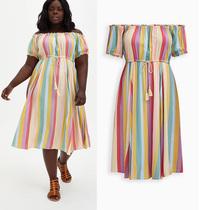 2095 欧美单胖MM特大码一字领条纹人棉连衣裙200 300 400斤