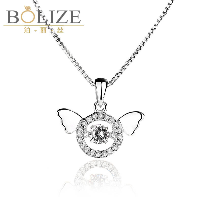 Creative and flexible Necklace 925 Sterling Silver Angel Wing beating heart pendant pendant for women
