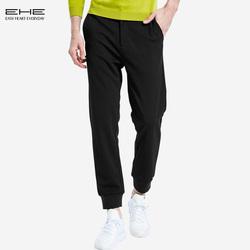 EHE男装 秋新品韩版时尚修身纯色微弹束脚运动长裤舒适百搭运动裤