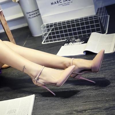 细跟高跟鞋 2019夜场10cm一字扣女鞋 夏季尖头包脚凉鞋女带夏单鞋